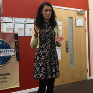 Charlotte speaking at Hull Speakers
