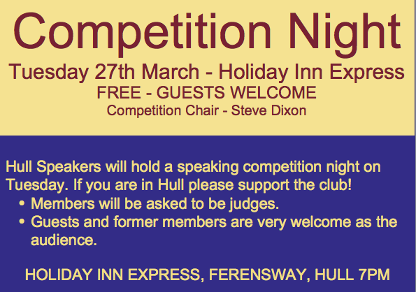 Competition Night.  Please Come Along!