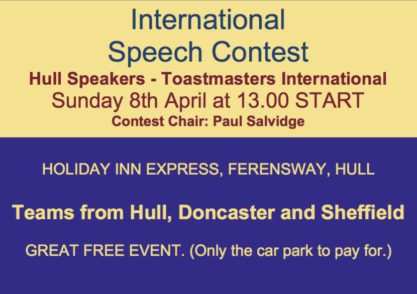 International Speech Contest. Chair is Paul Salvudge