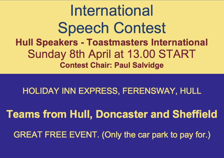 International Speech Contest – Reminder!